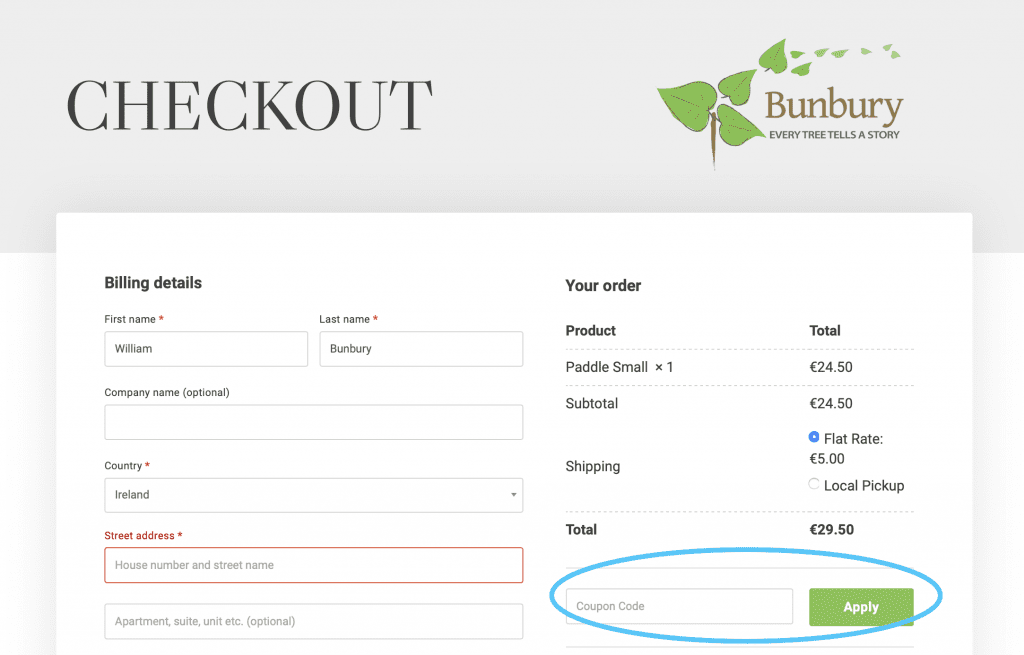 Coupon Code location